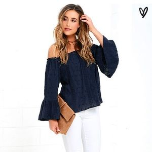 Lulu's Navy off the shoulder top small